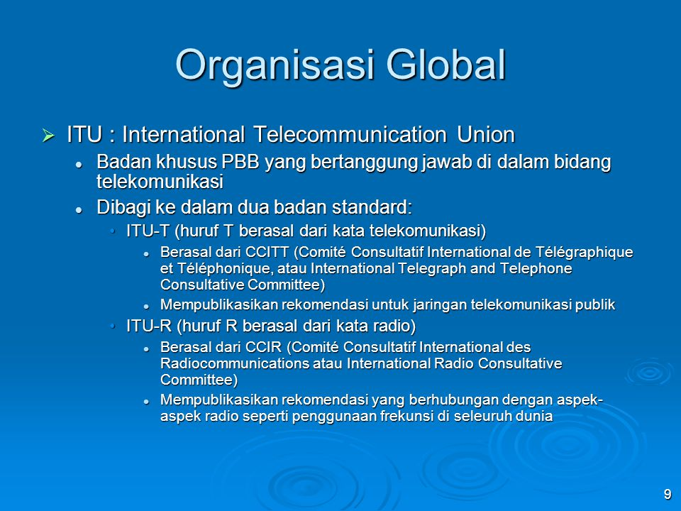 Organisasi Global ITU : International Telecommunication Union
