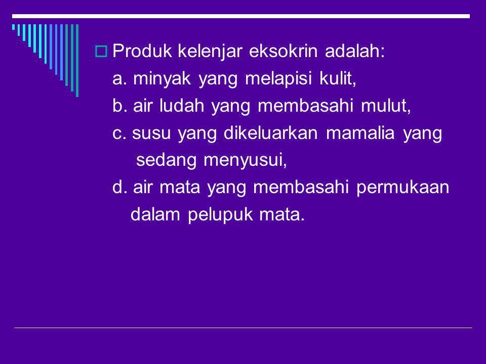 Produk kelenjar eksokrin adalah: