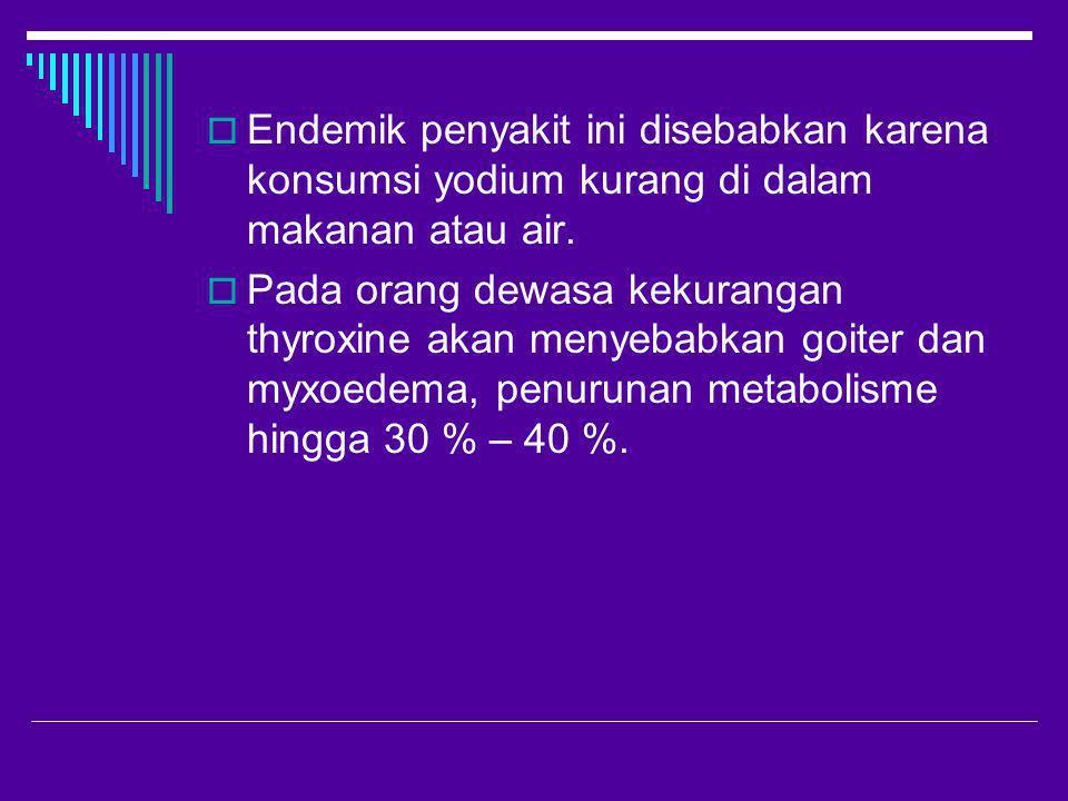 Endemik penyakit ini disebabkan karena konsumsi yodium kurang di dalam makanan atau air.
