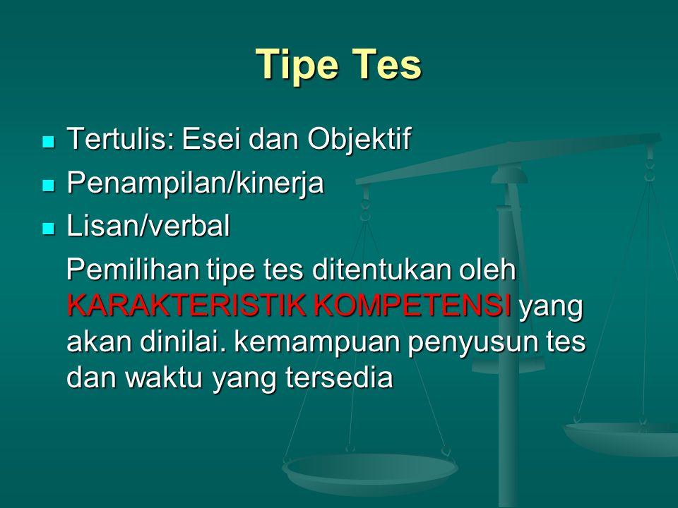 Tipe Tes Tertulis: Esei dan Objektif Penampilan/kinerja Lisan/verbal