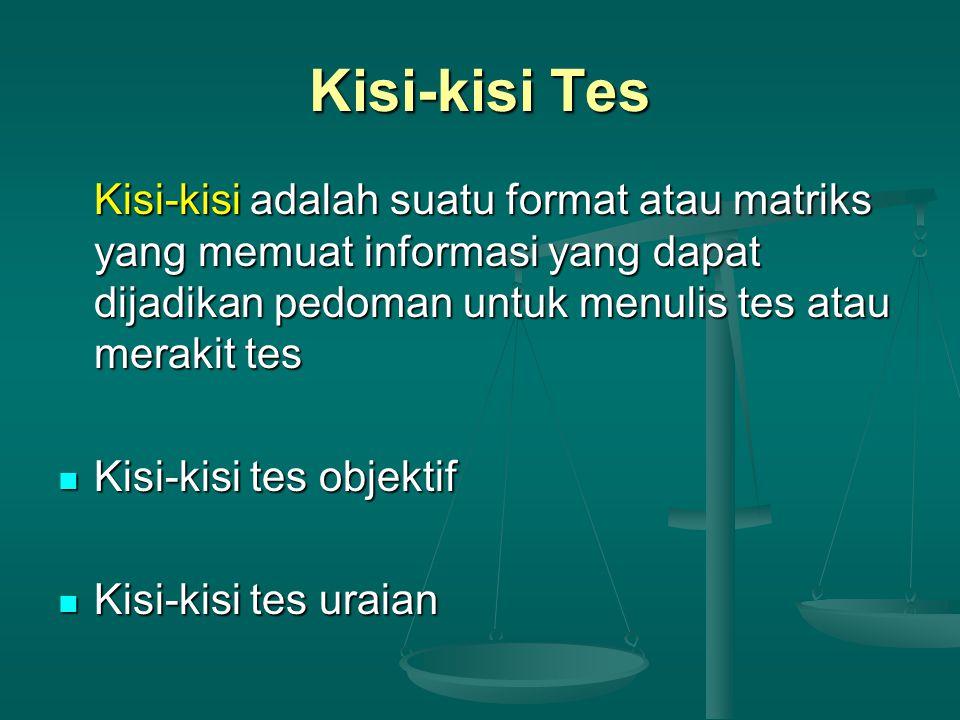 Kisi-kisi Tes Kisi-kisi adalah suatu format atau matriks yang memuat informasi yang dapat dijadikan pedoman untuk menulis tes atau merakit tes.