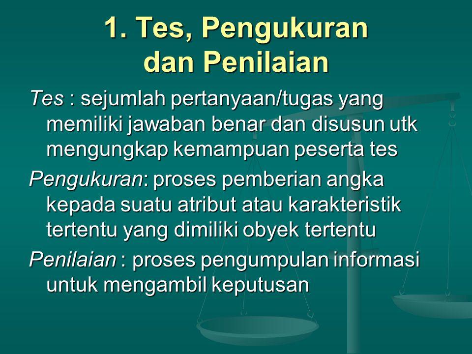 1. Tes, Pengukuran dan Penilaian