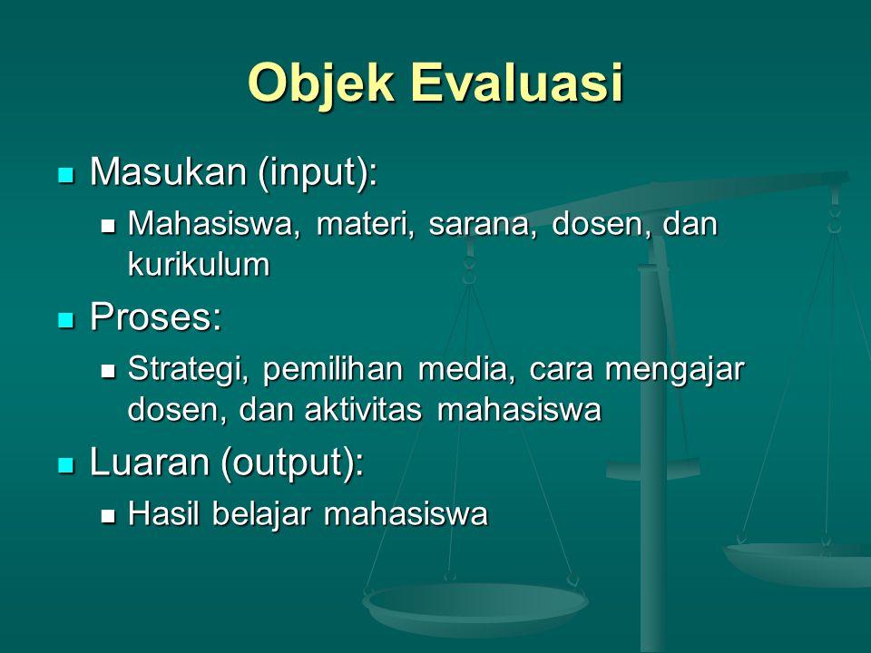 Objek Evaluasi Masukan (input): Proses: Luaran (output):