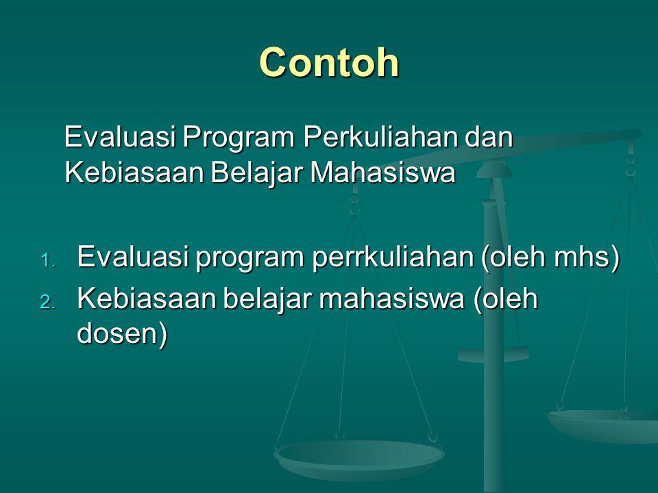 Contoh Evaluasi Program Perkuliahan dan Kebiasaan Belajar Mahasiswa