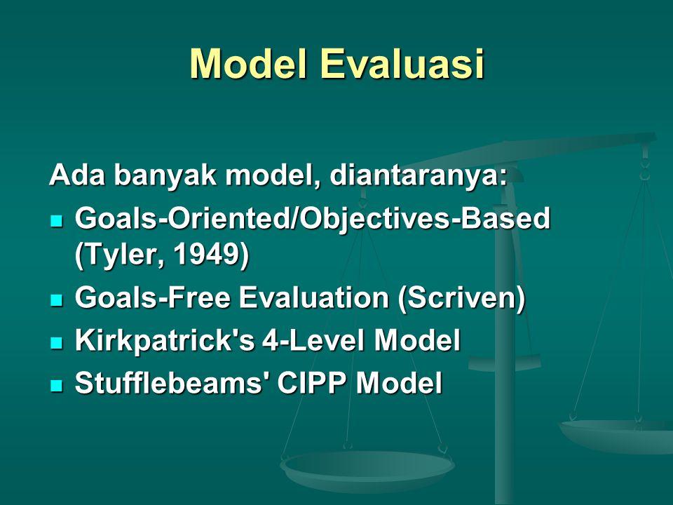 Model Evaluasi Ada banyak model, diantaranya: