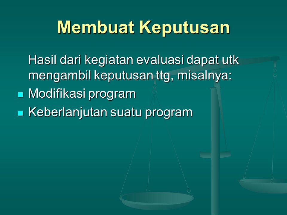 Membuat Keputusan Hasil dari kegiatan evaluasi dapat utk mengambil keputusan ttg, misalnya: Modifikasi program.