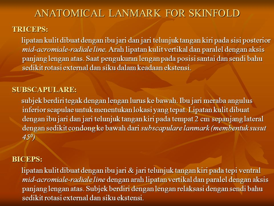 ANATOMICAL LANMARK FOR SKINFOLD