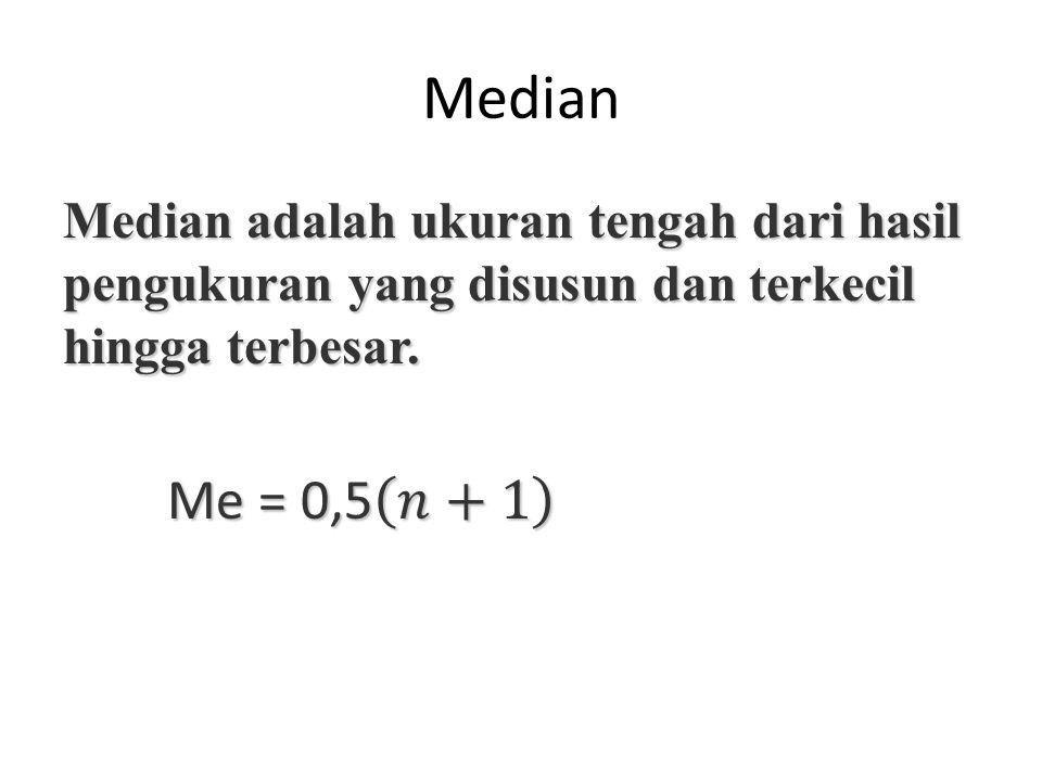 Median Median adalah ukuran tengah dari hasil pengukuran yang disusun dan terkecil hingga terbesar.