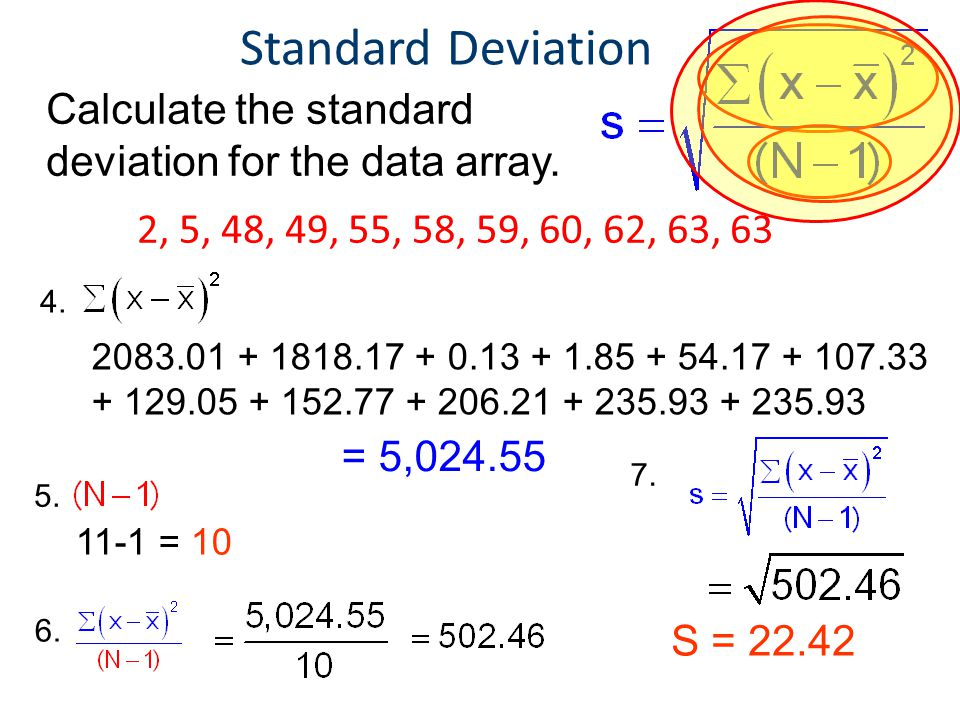 Statistics Standard Deviation. Principles of EngineeringTM. Unit 4 – Lesson 4.1 - Statistics. Calculate the standard deviation for the data array.