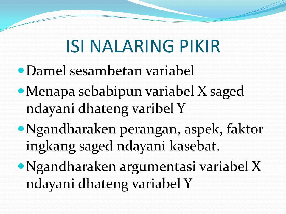 ISI NALARING PIKIR Damel sesambetan variabel