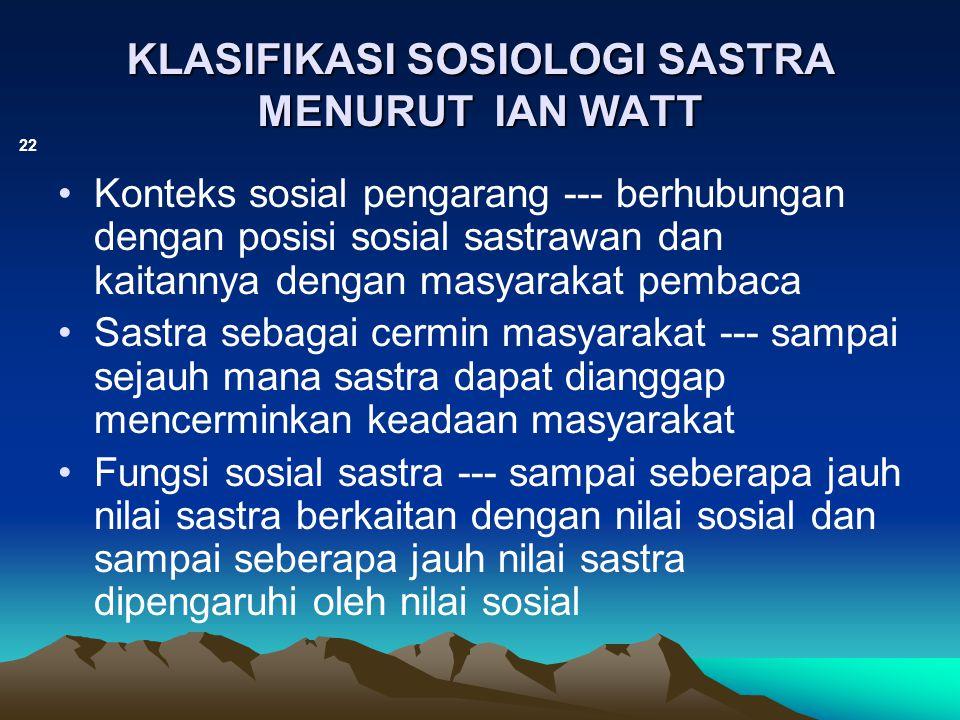 KLASIFIKASI SOSIOLOGI SASTRA MENURUT IAN WATT