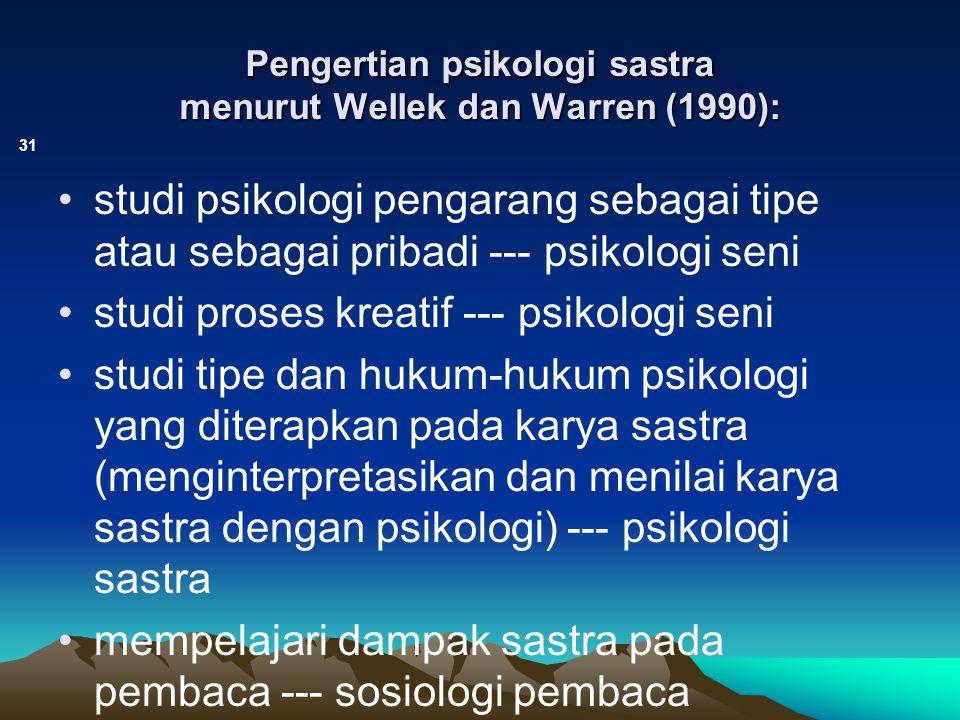Pengertian psikologi sastra menurut Wellek dan Warren (1990):