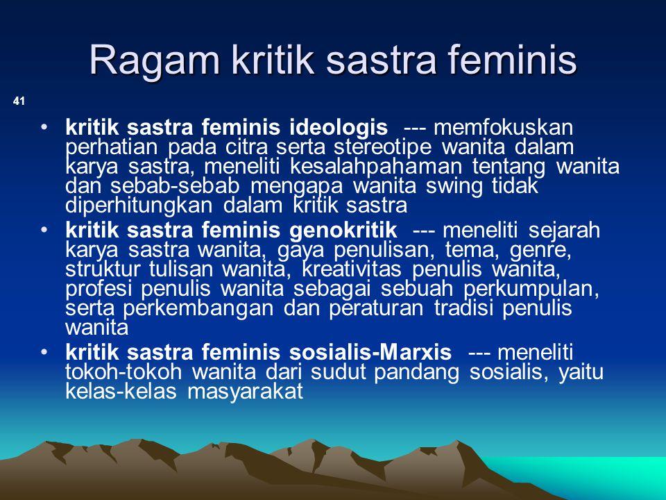 Ragam kritik sastra feminis