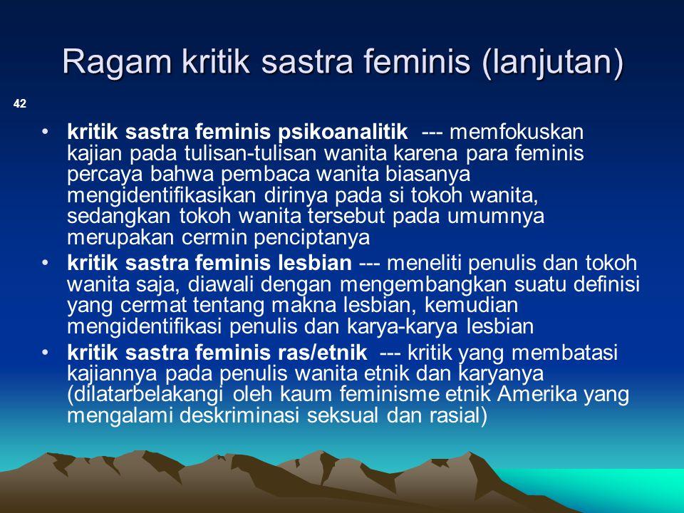 Ragam kritik sastra feminis (lanjutan)