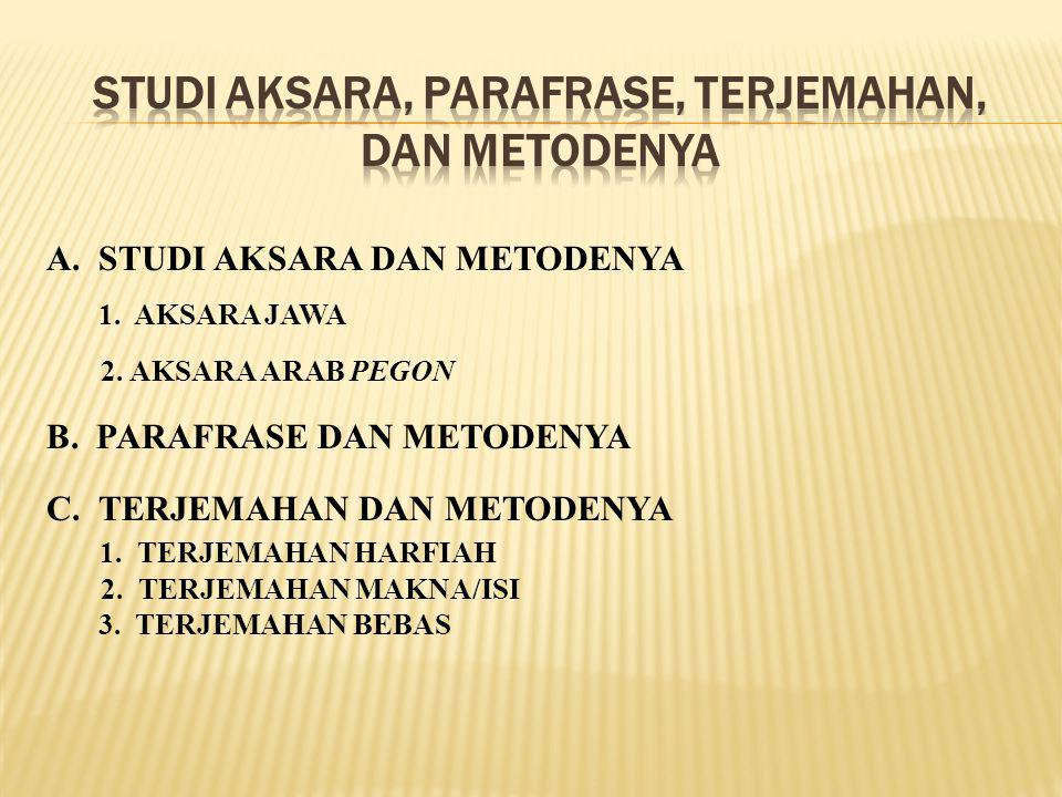 STUDI AKSARA, PARAFRASE, TERJEMAHAN, DAN METODENYA