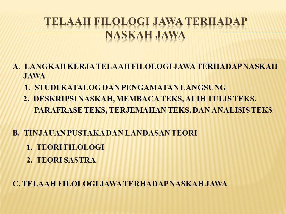 TELAAH FILOLOGI JAWA TERHADAP NASKAH JAWA