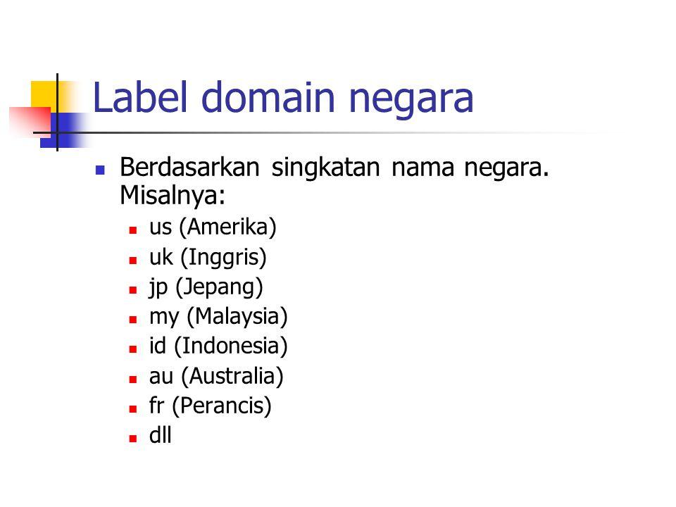 Label domain negara Berdasarkan singkatan nama negara. Misalnya:
