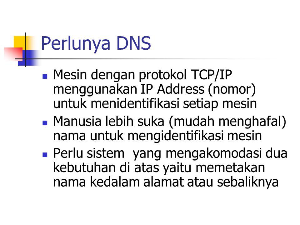 Perlunya DNS Mesin dengan protokol TCP/IP menggunakan IP Address (nomor) untuk menidentifikasi setiap mesin.