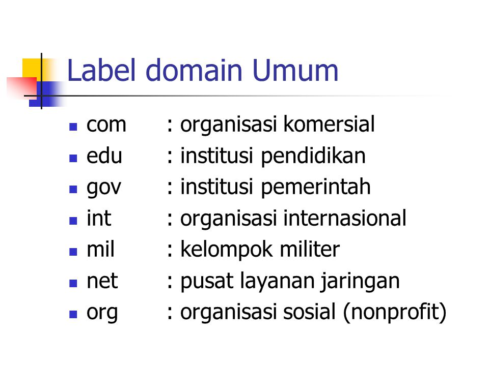 Label domain Umum com : organisasi komersial