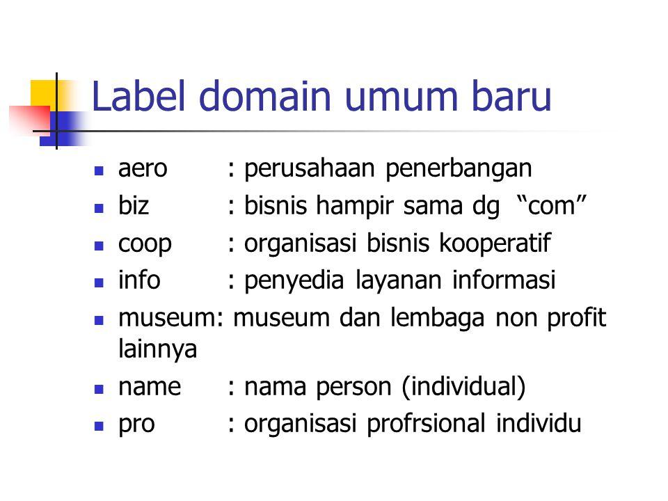 Label domain umum baru aero : perusahaan penerbangan