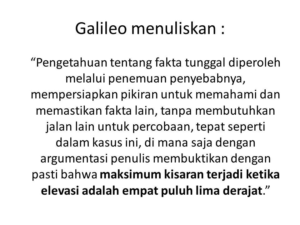 Galileo menuliskan :