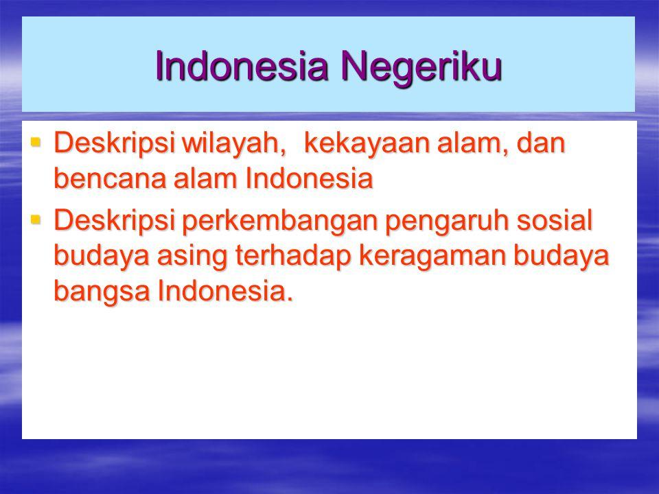 Indonesia Negeriku Deskripsi wilayah, kekayaan alam, dan bencana alam Indonesia.