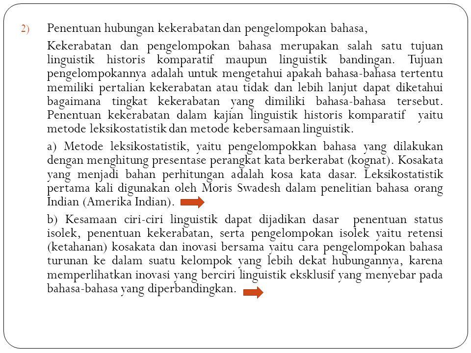 Penentuan hubungan kekerabatan dan pengelompokan bahasa,