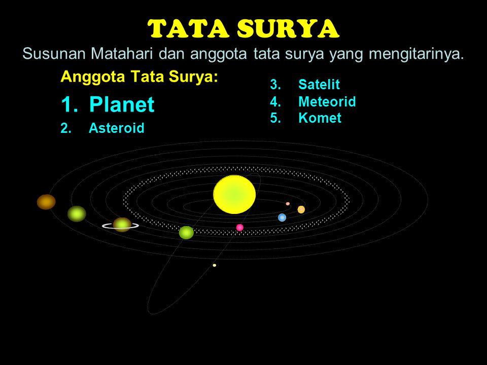 TATA SURYA Susunan Matahari dan anggota tata surya yang mengitarinya. Anggota Tata Surya: Planet.