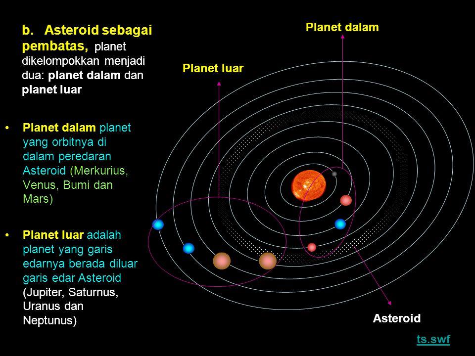 b. Asteroid sebagai pembatas, planet dikelompokkan menjadi dua: planet dalam dan planet luar