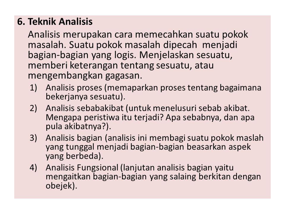 6. Teknik Analisis