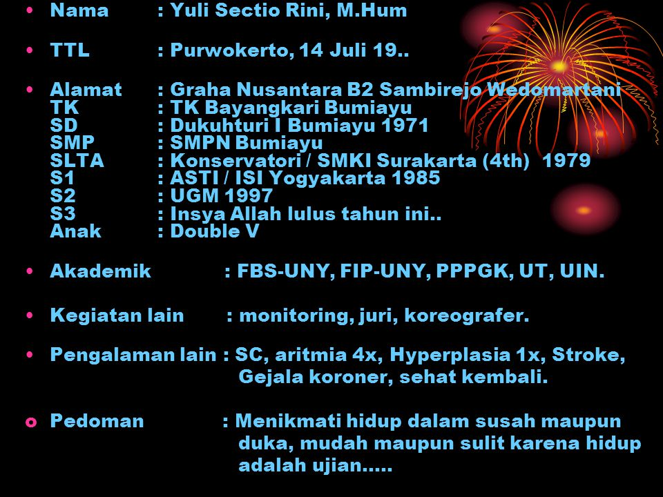 Nama : Yuli Sectio Rini, M.Hum