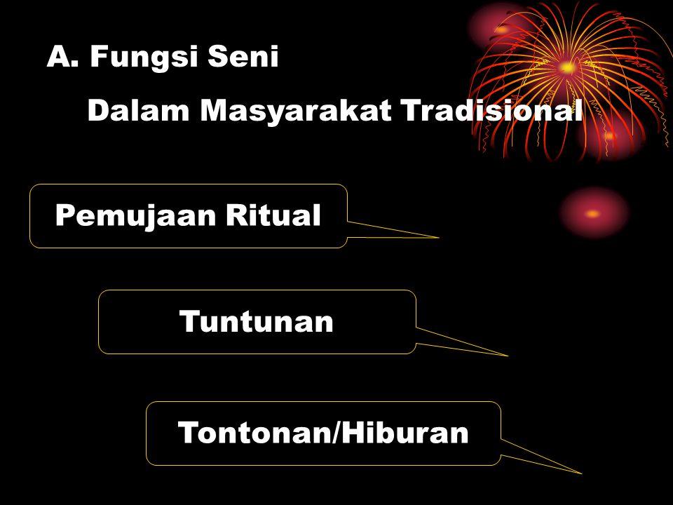 Fungsi Seni Dalam Masyarakat Tradisional Pemujaan Ritual Tuntunan Tontonan/Hiburan
