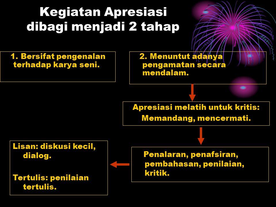 Kegiatan Apresiasi dibagi menjadi 2 tahap