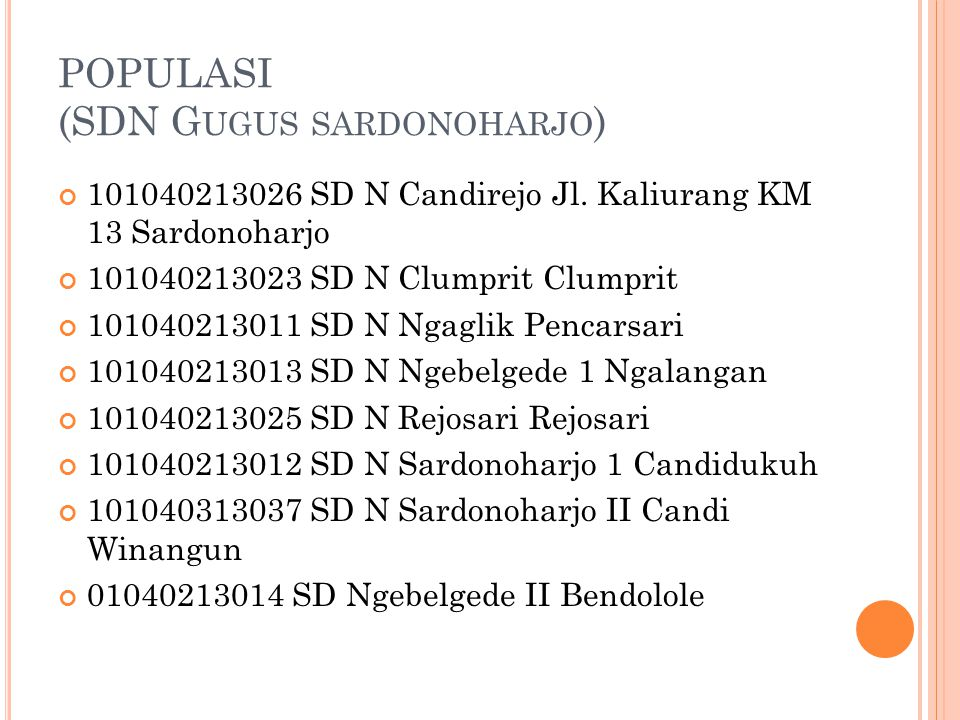 POPULASI (SDN Gugus sardonoharjo)