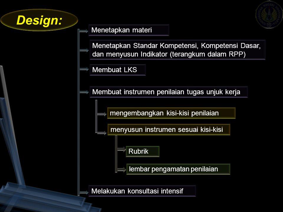 Design: Menetapkan materi