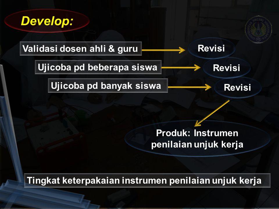 Produk: Instrumen penilaian unjuk kerja