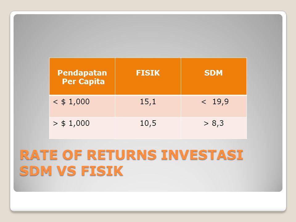 RATE OF RETURNS INVESTASI SDM VS FISIK