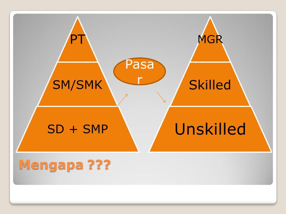 PT SM/SMK SD + SMP MGR Skilled Unskilled Pasar Mengapa