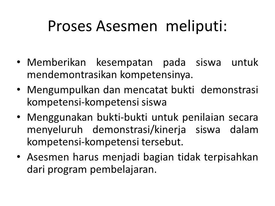 Proses Asesmen meliputi: