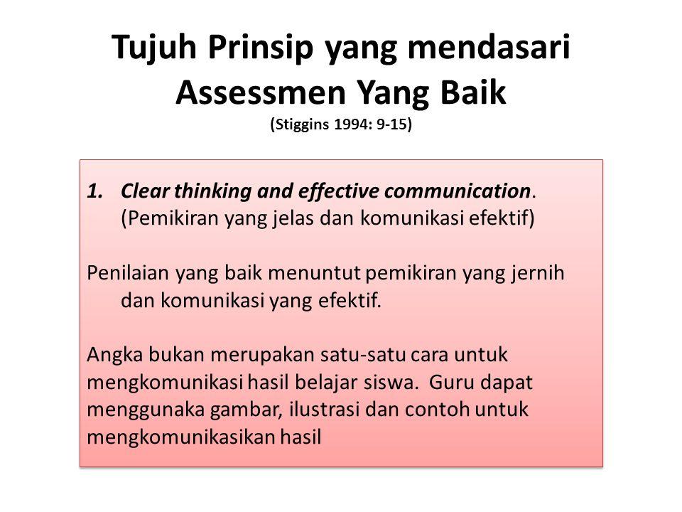 Tujuh Prinsip yang mendasari Assessmen Yang Baik (Stiggins 1994: 9-15)