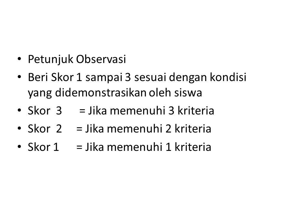 Petunjuk Observasi Beri Skor 1 sampai 3 sesuai dengan kondisi yang didemonstrasikan oleh siswa. Skor 3 = Jika memenuhi 3 kriteria.