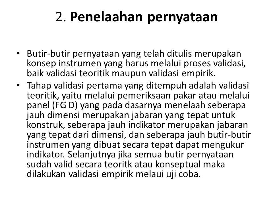 2. Penelaahan pernyataan