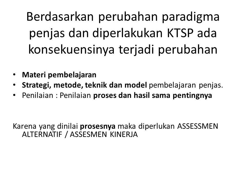 Berdasarkan perubahan paradigma penjas dan diperlakukan KTSP ada konsekuensinya terjadi perubahan