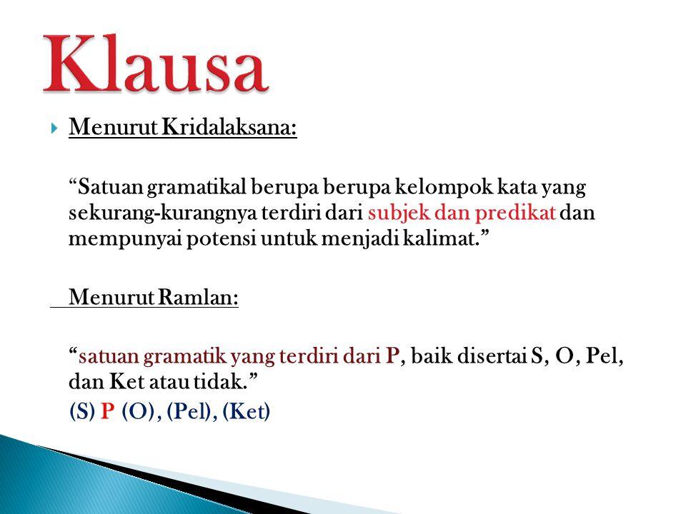 Klausa Menurut Kridalaksana: