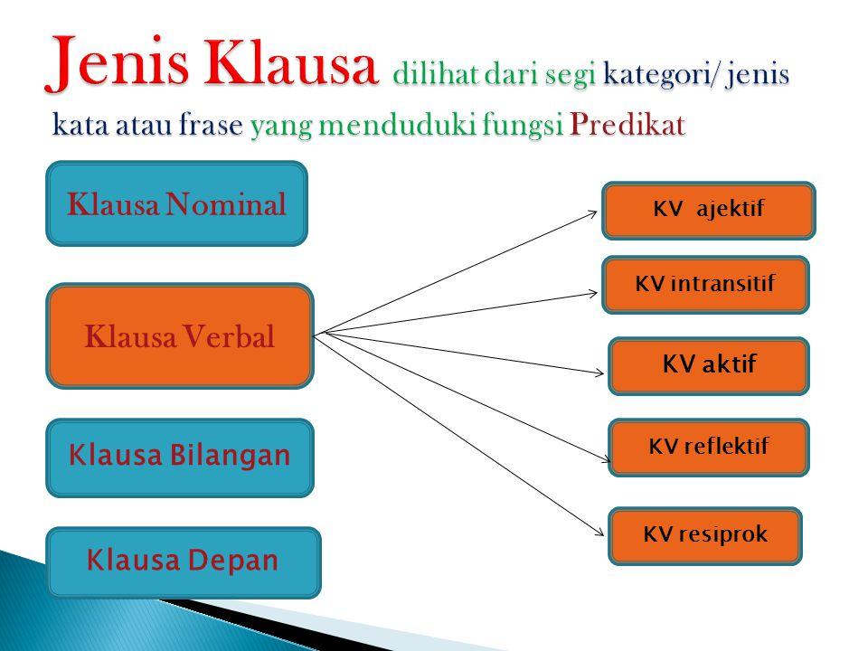 Jenis Klausa dilihat dari segi kategori/ jenis kata atau frase yang menduduki fungsi Predikat
