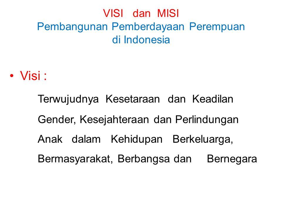 VISI dan MISI Pembangunan Pemberdayaan Perempuan di Indonesia