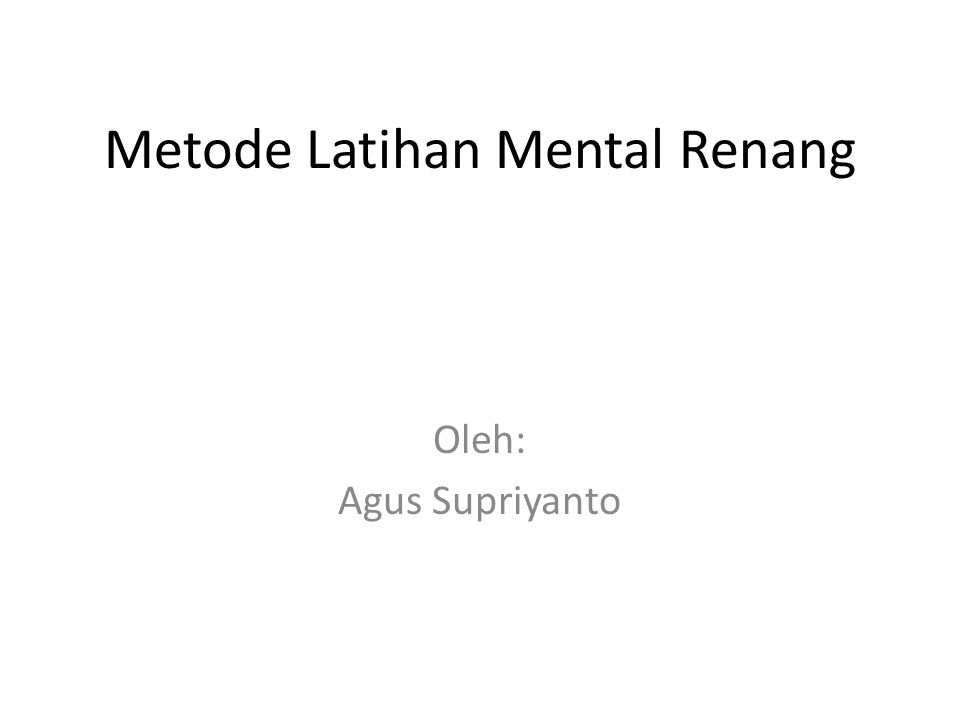 Metode Latihan Mental Renang