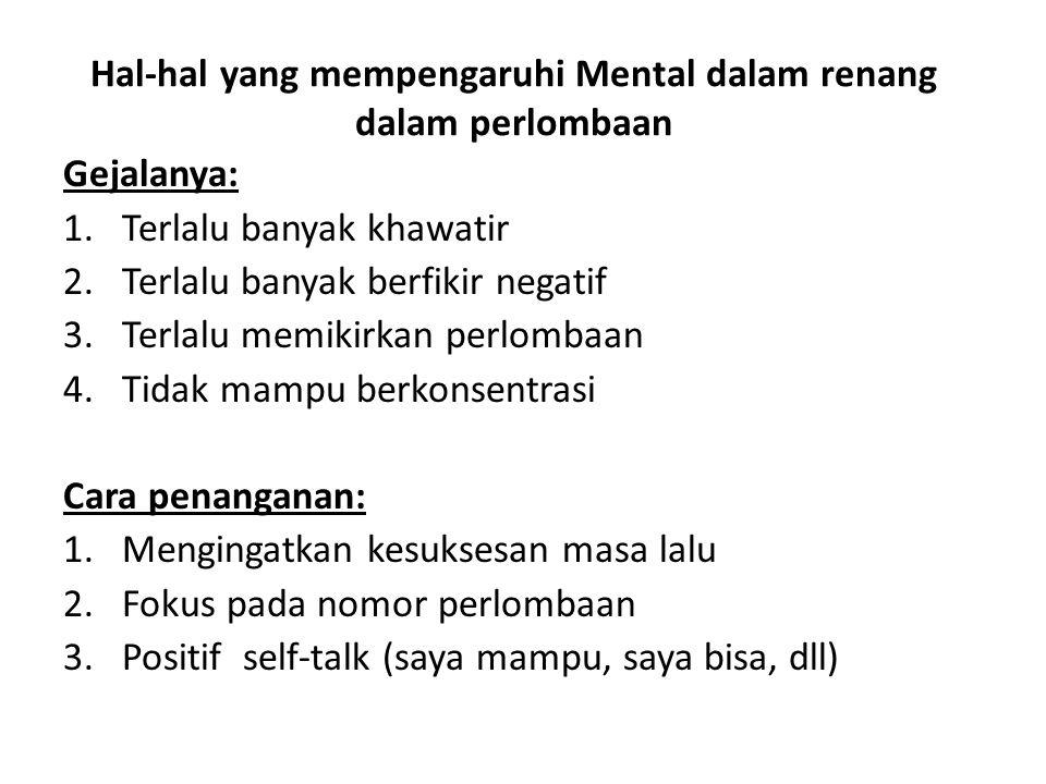 Hal-hal yang mempengaruhi Mental dalam renang dalam perlombaan