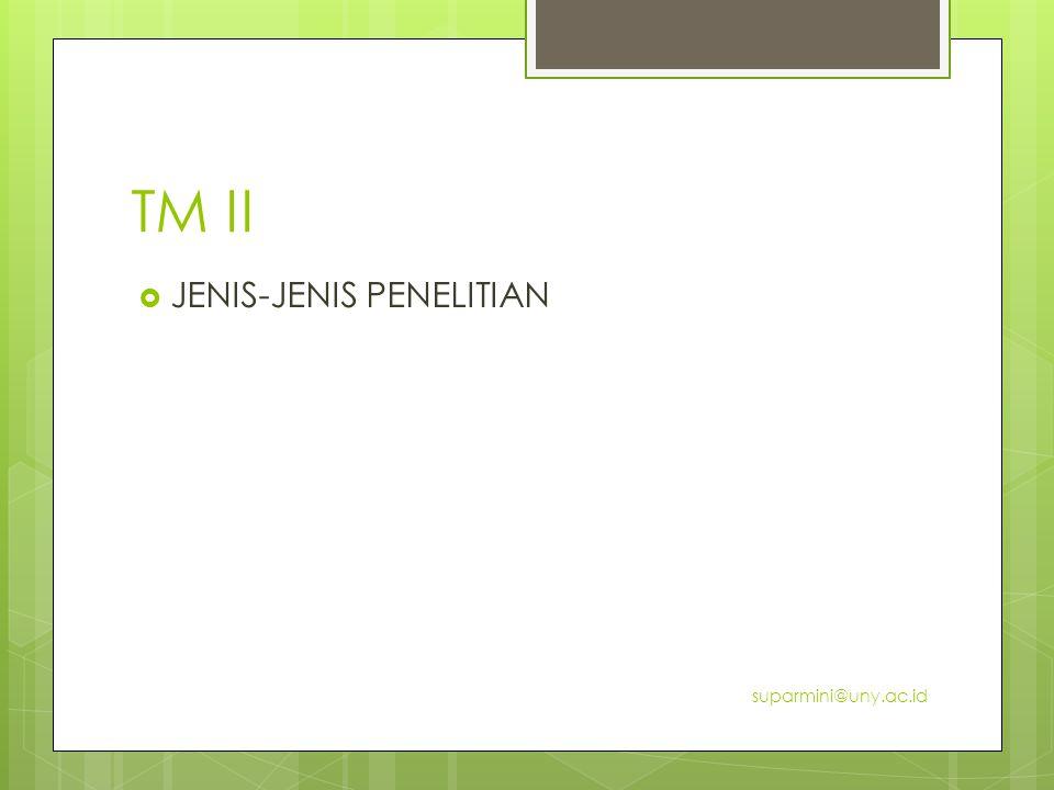 TM II JENIS-JENIS PENELITIAN suparmini@uny.ac.id