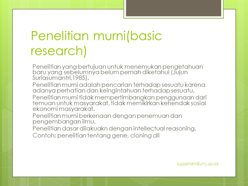 Penelitian murni(basic research)
